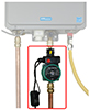Hot water recirc system for tankless water heaters with dead-end plumbing lines